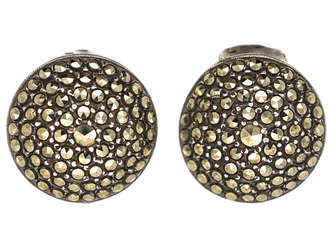 Art Deco Round Silver Clip On Earrings Set With Marcasite