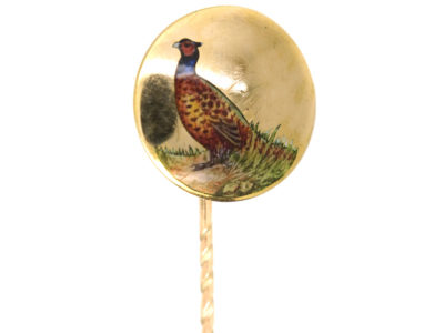Edwardian 15ct Gold & Enamel Tie Pin of a Cock Pheasant
