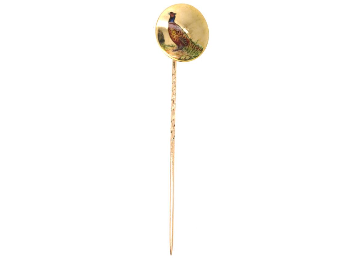 Edwardian 15ct Gold & Enamel Tie Pin of a Cock Pheasant