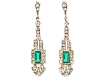 Art Deco Silver & Green & White Paste Drop Earrings