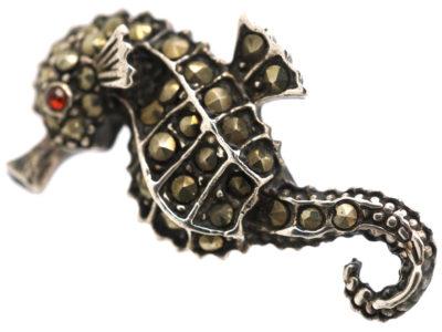 Silver & Marcasite Seahorse Brooch