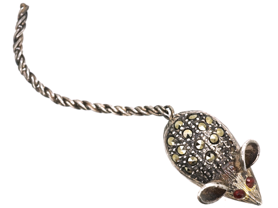 Silver & Marcasite Mouse Brooch