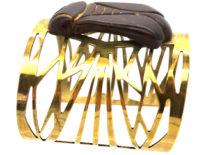 French Art Nouveau Base Metal & Carved Horn Bug Bangle