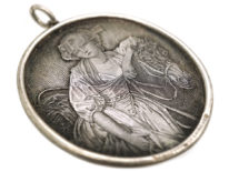 Victorian Silver Oval Pendant engraved With La Laitiere (The Milkmaid) after Greuze