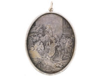 Oval Silver Pendant With Engraving of Kermesse Flamande (Flemish Feast) after Teniers