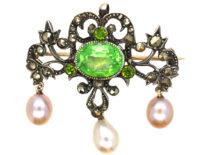 Edwardian Silver, Marcasite & Green Paste Pendant / Brooch