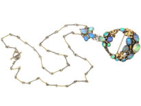 Silver & Gold Arts & Crafts Necklace by Dorrie Nossiter set with Opals