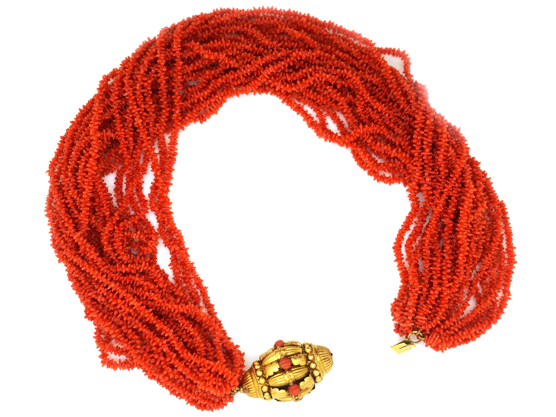 Georgian 23 Strand Coral Necklace with 18ct Gold Clasp