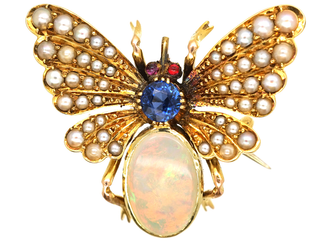Edwardian 15ct Gold Bee Brooch Set With a Sapphire,Opal & Natural Split Pearls