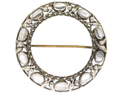 Moonstone & Marcasite Round Brooch