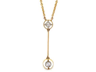 Art Deco Two Diamond Drop Pendant in Original Case