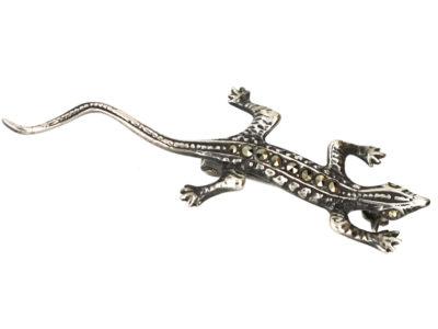 Small Silver & Marcasite Lizard Brooch