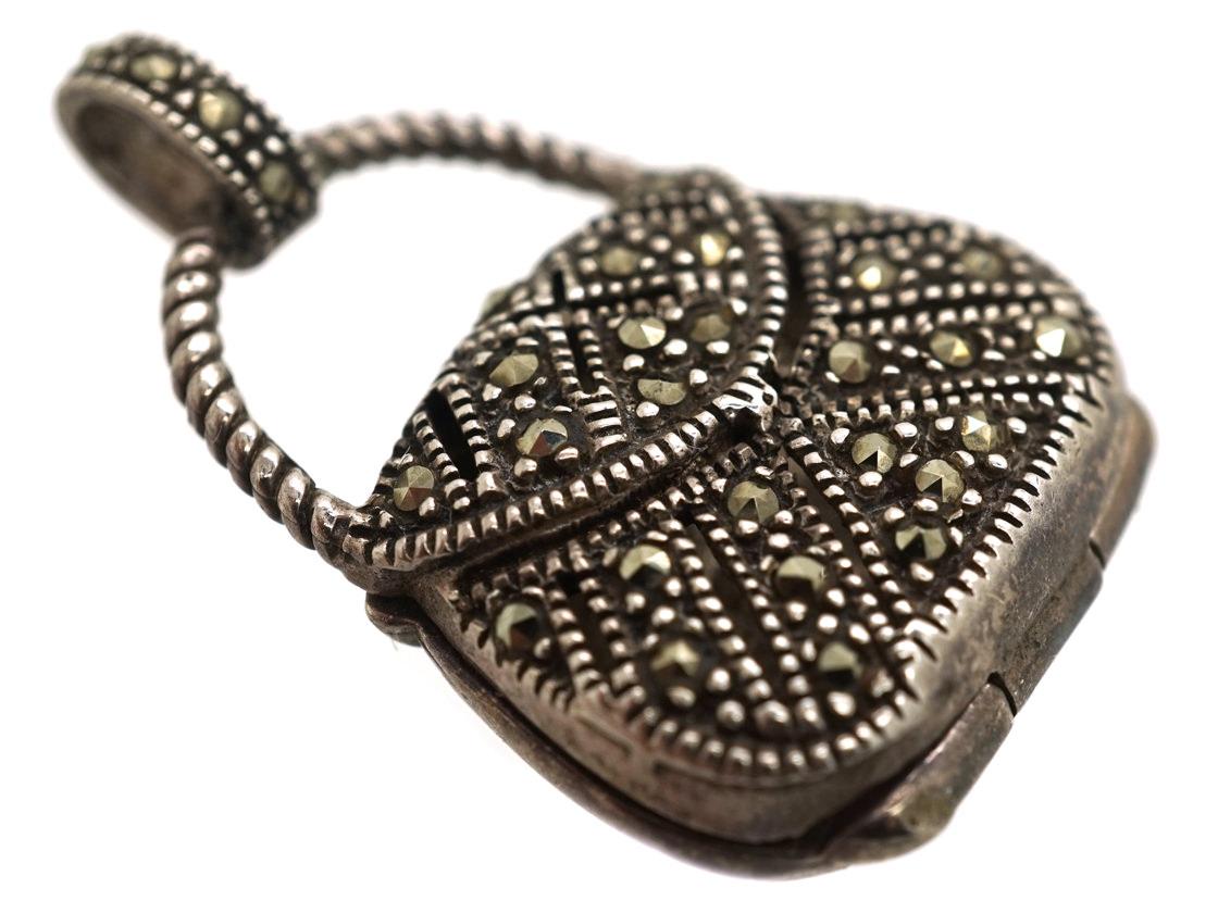 Silver & Marcasite Handbag Locket