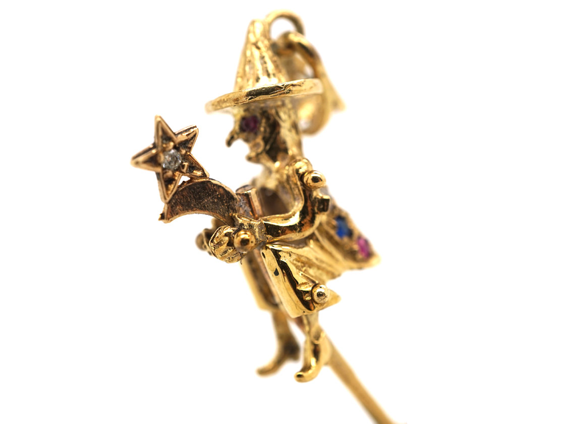 9ct Gold Witch on a Broomstick Pendant