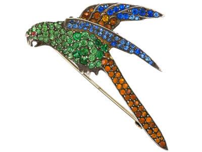 Art Deco Silver & Coloured Paste Parrot Brooch