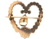 Georgian Heart Shaped Brooch Set with a Garnet, Natural Split Pearls & Diamonds