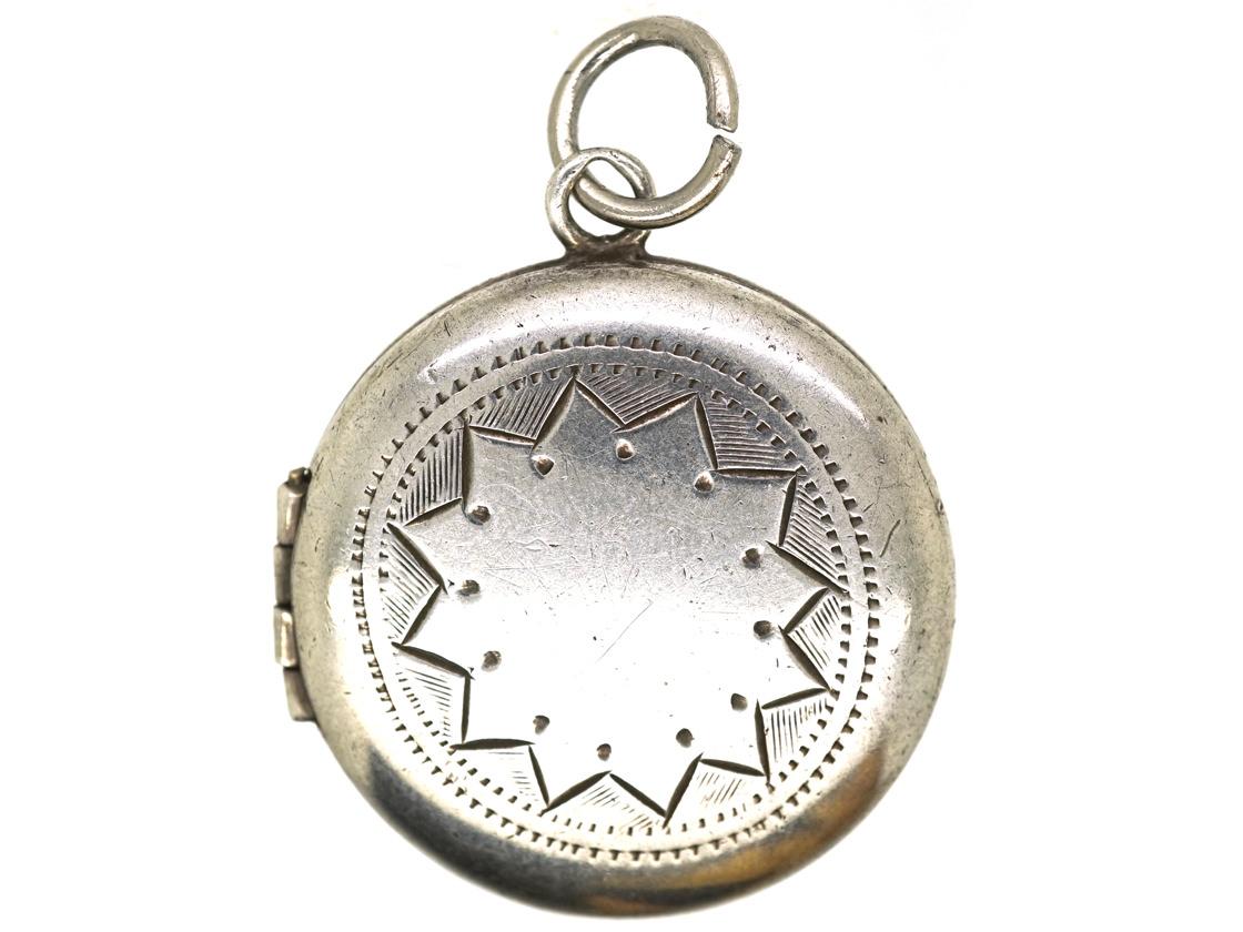 Round Silver Engraved Locket