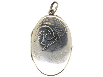 Silver Oval Locket With Scroll Engraving