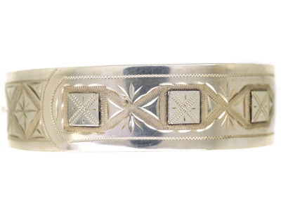 Victorian Silver Bangle With Square & Criss Cross Buckle Design