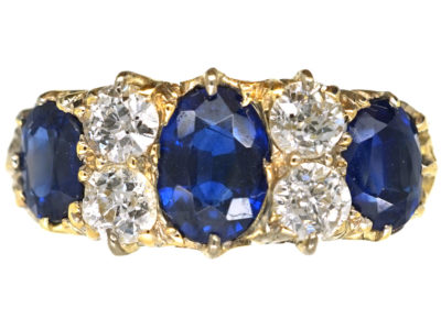 Victorian 18ct Gold, Three Stone Sapphire & Diamond Carved Half Hoop Ring