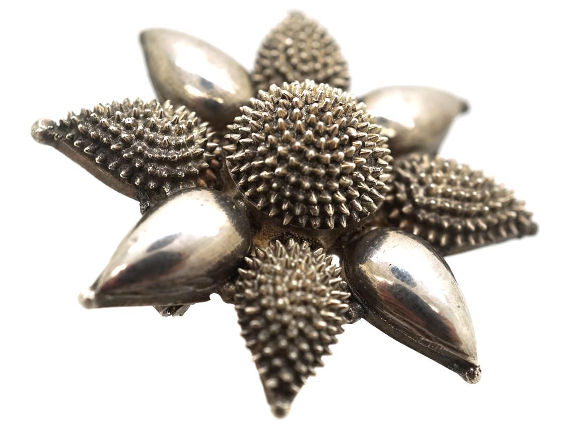 Victorian Silver Flower Brooch