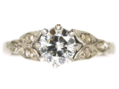Art Deco Solitaire Diamond Ring With Diamond Set Leaf Shoulders