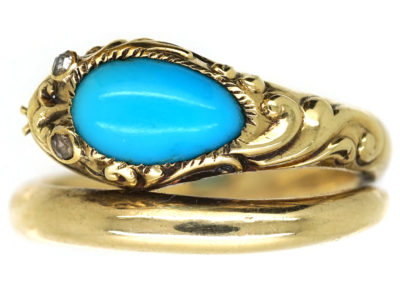 William 1V 18ct Gold Turquoise & Rose Diamond Snake Ring