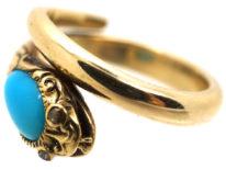 William 1V 18ct Gold Turquoise & Rose Diamond Snake Ring