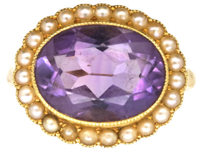 Edwardian 18ct Gold Amethyst & Natural Split Pearl Oval Cluster Ring