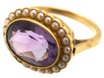 Edwardian 18ct Gold Amethyst & Natural Split Pearl Oval Cluster Ring