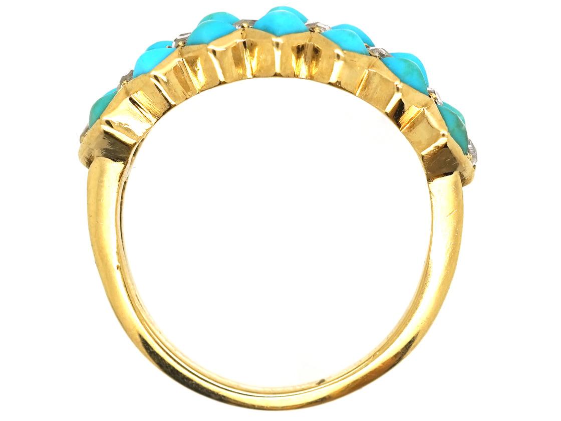 Victorian 18ct Gold, Turquoise & Diamond Zig Zag Ring