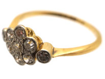 Edwardian Diamond Cluster Ring With a Diamond on Either Side