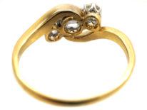 Edwardian 18ct Gold & Platinum Three Stone Diamond Crossover Ring
