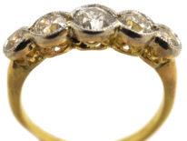 Edwardian 18ct Gold & Platinum, Five Stone Diamond Ring