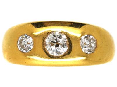 Victorian 18ct Gold, Three Stone Diamond Rub Over Ring