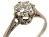 Art Deco Diamond Single Stone Platinum Ring