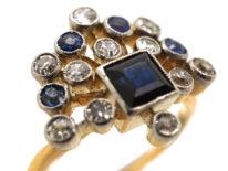 Edwardian 18ct Gold & Platinum, Sapphire & Diamond Firework Ring
