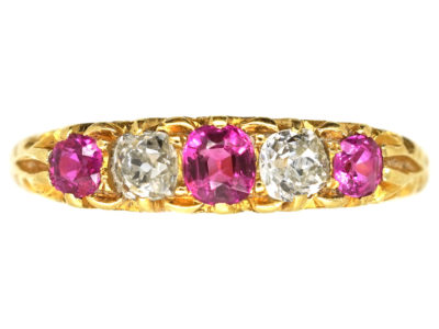 Edwardian Ruby & Diamond Five Stone Carved Half Hoop Ring