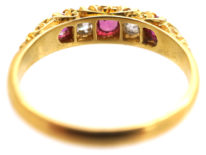 Edwardian Ruby & Diamond Five Stone Carved Half Hoop Ring