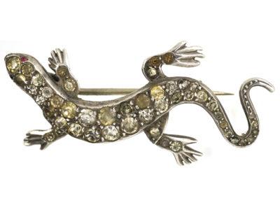Edwardian Silver & Paste Lizard Brooch