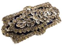 Edwardian Silver, Paste & Blue Glass Rectangular Brooch