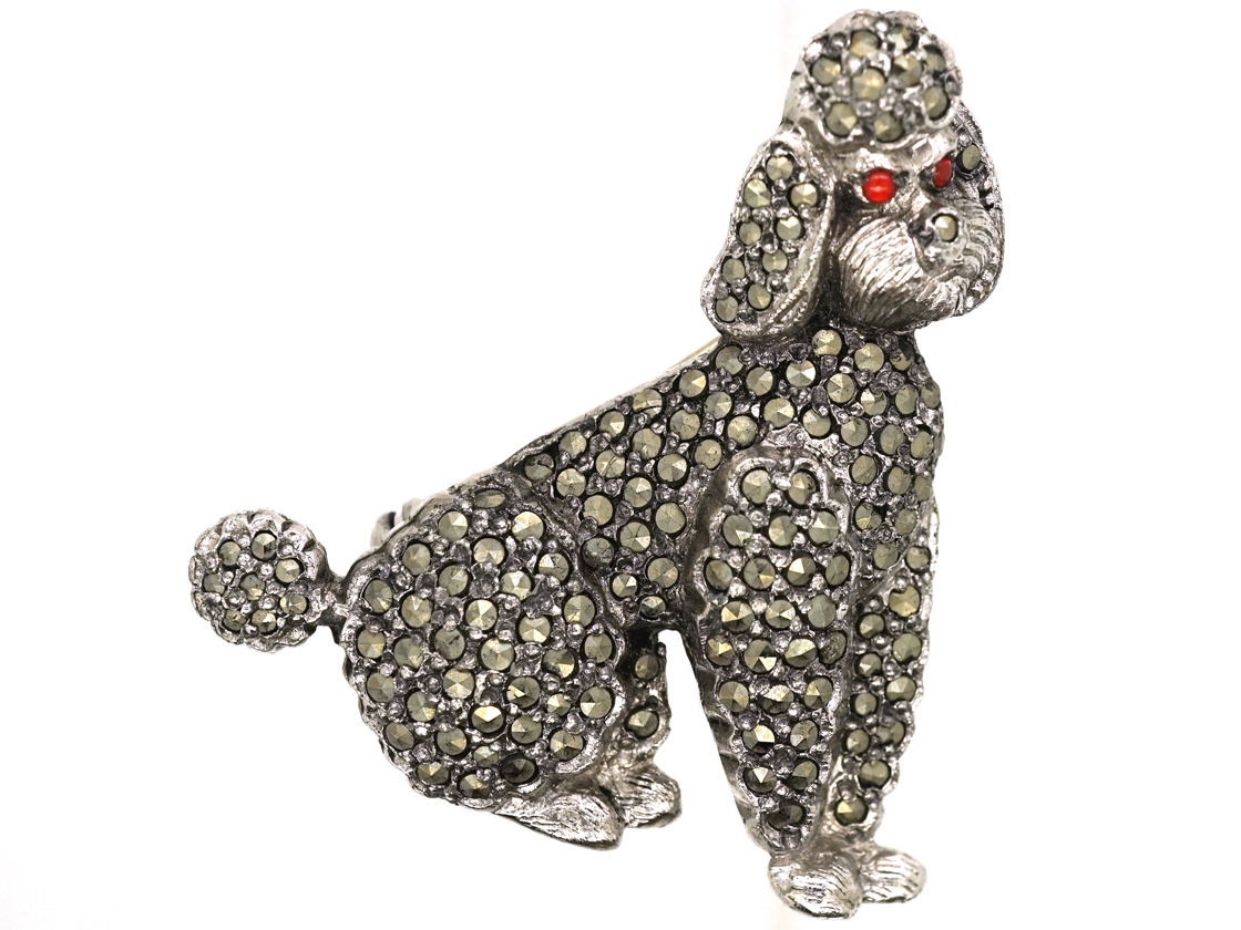 marked 925 Vintage Sterling and Marcasite Seated Poodle Brooch