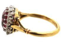 Edwardian 18ct Gold, Platinum & Pink Tourmaline Cluster Ring
