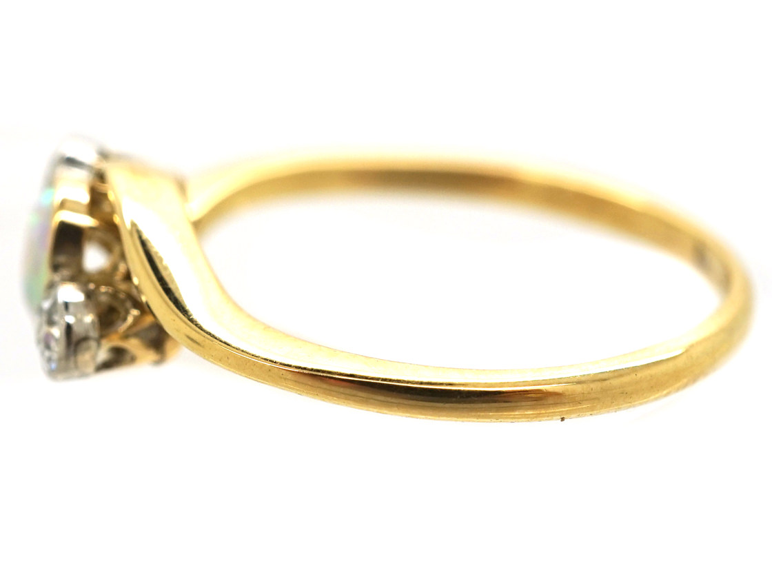Edwardian 18ct Gold Crossover Ring Set With an Opal & Two Diamonds
