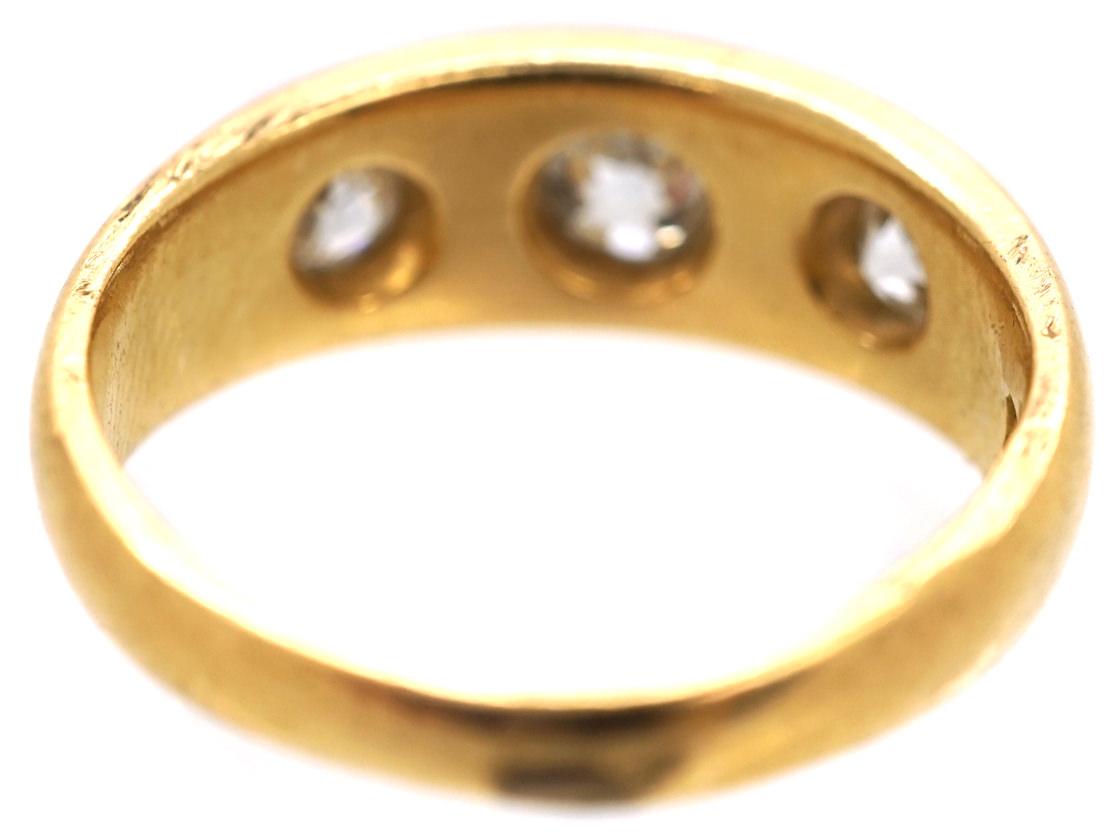 Victorian 18ct Gold Three Stone Diamond Gypsy Ring