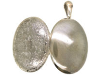 Victorian Large Silver Oval Locket With Flower Engraved Decoration