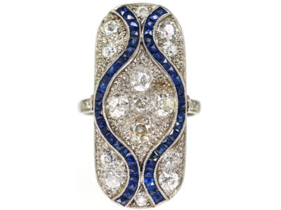 Art Deco 18ct White Gold & Platinum, Large Sapphire & Diamond Plaque Ring