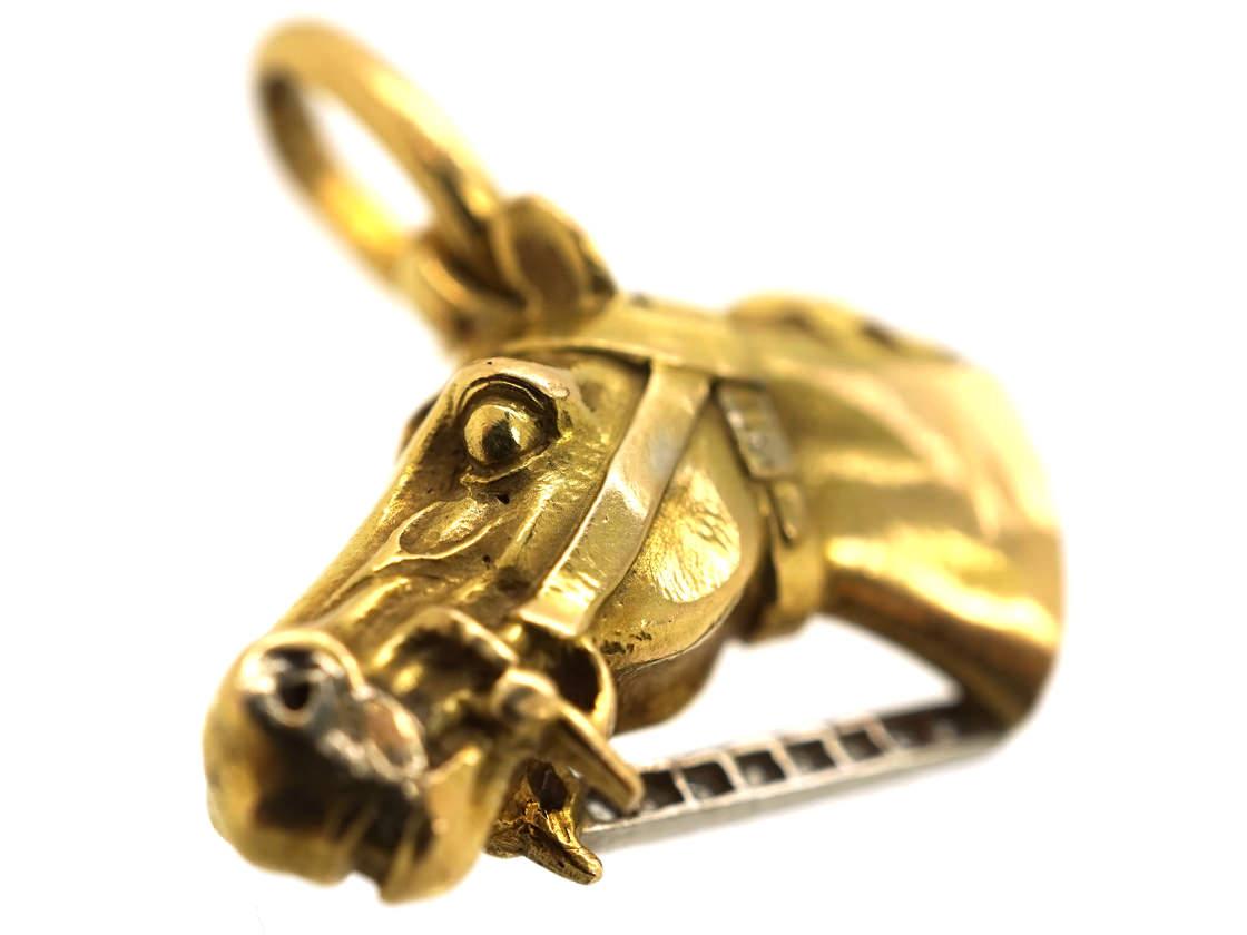 18ct Gold & Gem Set Pendant of a Horse's Head