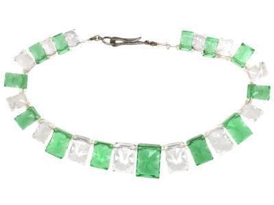 Art Deco Green & White Glass Necklace