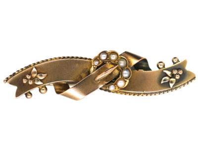 Victorian 9ct Gold & Split Pearl Buckle Brooch